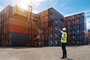 Transport Domestic Freight — Man Assisting Forklift Placing Containers in Brooklyn, NY